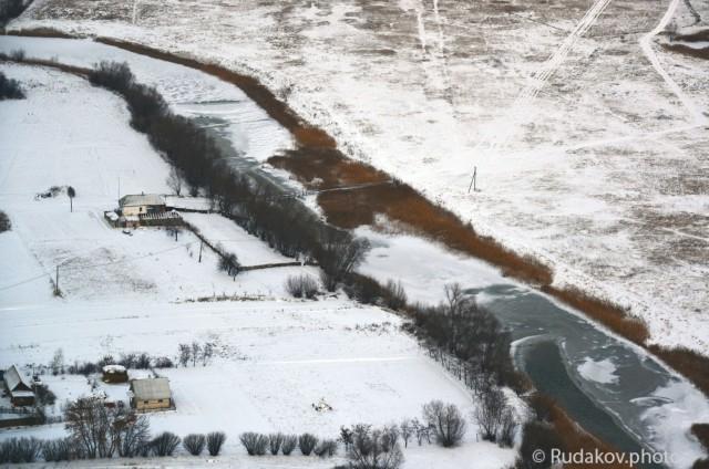 Зимний пейзаж. Съемка с вертолета