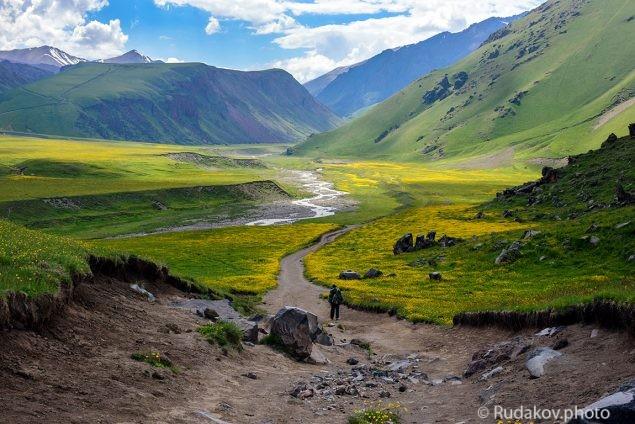 Путник входящий на поляну Эммануэля. Северный Кавказ. Подножие горы Эльбрус.