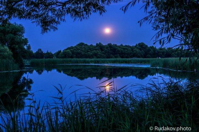 Вечер на Цне при полной луне