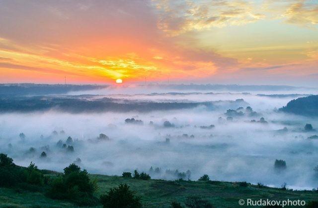 Восход с туманом