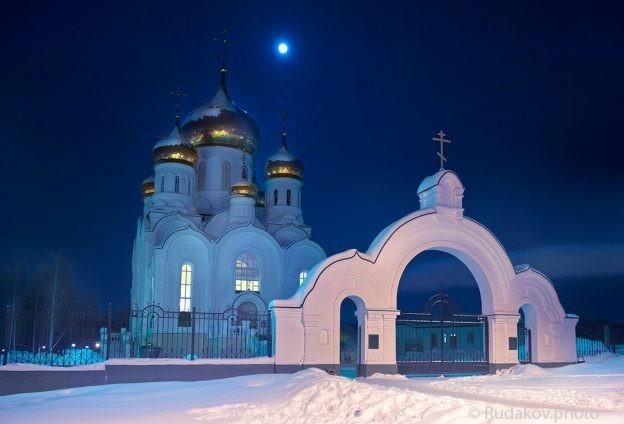 Тамбов. Троицкий храм в ночь полной луны
