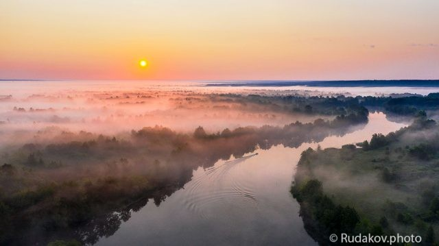 Над туманной рекой. Река Цна в районе с.Кулеватово