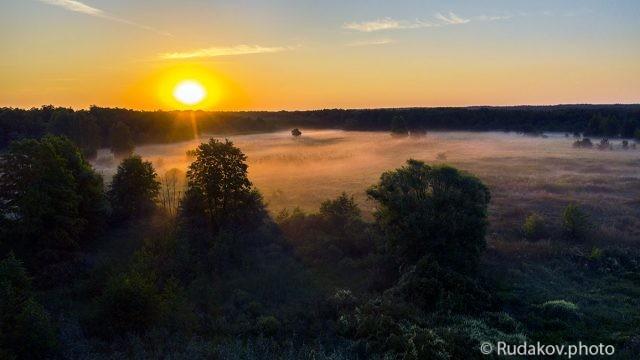 Восход над туманным лугом